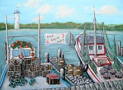 Lighthouse Paintings - Fresh Seafood  by JoAnn Wheeler