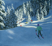 Ski Painting Prints - Fresh Snow Print by Andrew Macara