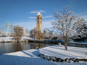 Clocktower Posters - FRESH SNOW in RIVERFRONT PARK - SPOKANE WASHINGTON Poster by Daniel Hagerman