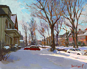 Snowscape Painting Prints - Fresh Snow Print by Ylli Haruni