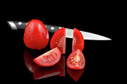 Reflected Posters - Fresh Tomatoes and knife Poster by Gert Lavsen