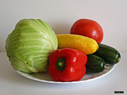 Kitchen Photos Prints - Fresh Vegetables Print by Methune Hively