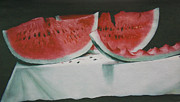 Watermelon Seeds Framed Prints - Fresh Watermelon  Framed Print by Bill Joseph  Markowski