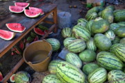Street Markets Framed Prints - Fresh watermelons for sale Framed Print by Sami Sarkis