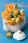 Orange Rosebud Posters - Freshly Picked Roses Poster by Christopher Elwell and Amanda Haselock