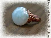 Music Jewelry - Freshwater Pearl and Copper Wrap Ring by Donna  Phitides