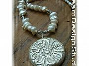 Music Jewelry - Freshwater Pearl and Custom clay Pendant Necklace by Donna  Phitides