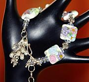 Romantic Jewelry Originals - Freshwater Pearls Lampwork in Sterling Silver Bracelet by Nadina Giurgiu