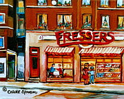 Montreal Restaurants Paintings - Fressers Deli Decarie Boulevard Montreal City Scenes by Carole Spandau