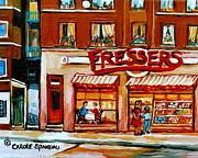 Fressers Deli Decarie Boulevard Montreal City Scenes Print by Carole Spandau