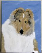 Collie Painting Framed Prints - Frey Framed Print by Wendy Jackson