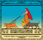 Feline Digital Art Metal Prints - Freya Norse goddess Metal Print by Aloysius Patrimonio
