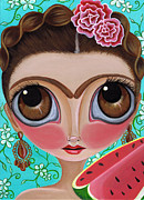 Brunette Framed Prints - Frida and the Watermelon Framed Print by Jaz Higgins