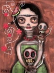 Gothic Painting Metal Prints - Frida Day of the Dead Metal Print by  Abril Andrade Griffith