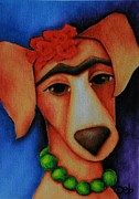 Dog Paintings - Frida Dog by Deb Harvey
