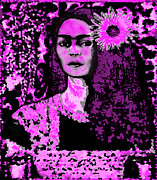 Faniart Framed Prints - Frida in Frida Pink Framed Print by Fania Simon