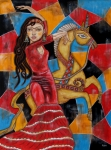 Flamenco Prints - Frida Kahlo dancing with the Unicorn Print by Rain Ririn
