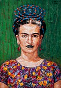Edward Ofosu Framed Prints - Frida Kahlo Framed Print by Edward Ofosu