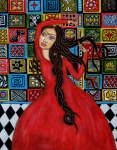 Folk Art  Paintings - Frida Kahlo Flamenco Dancing  by Rain Ririn