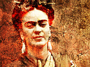 Amate Bark Paper Prints - Frida Kahlo Print by Juan Jose Espinoza
