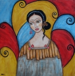 Folk Art Painting Framed Prints - Frida kahlo Framed Print by Rain Ririn