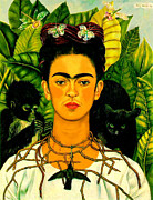 Canvas Painting Metal Prints - Frida Kahlo Self Portrait With Thorn Necklace and Hummingbird Metal Print by Pg Reproductions