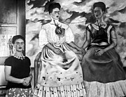 Portrait Artist Photo Framed Prints - Frida Kahlo Shown With Her Painting Me Framed Print by Everett