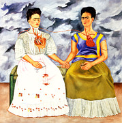 Frida Kahlo Framed Prints - Frida Kahlo The Two Fridas Framed Print by Pg Reproductions