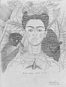 Pencil Drawing Drawings - Frida Khalo by Jose Valeriano