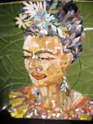 Mosaic Portrait Glass Art - Frida by Mitch Brookman