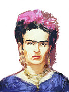 Portrait Artist Mixed Media Framed Prints - Frida Framed Print by Russell Pierce