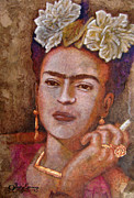 Amate Bark Paper Prints - Frida Smoking Print by Juan Jose Espinoza