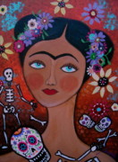 Serenata Posters - Frida With Skulls Poster by Pristine Cartera Turkus