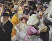 Crowds  Framed Prints - Friday at the French Artists Salon Framed Print by Jules Alexandre Grun