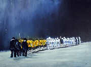 Lacrosse Paintings - Friday Night Lights by Kenneth DelGatto