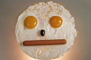 Unhealthy Eating Posters - Fried breakfast of eggs and sausage made into a neutral face Poster by Sami Sarkis