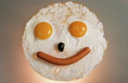 Sami Sarkis Metal Prints - Fried breakfast of eggs and sausage made into a smiling face Metal Print by Sami Sarkis