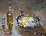 Olive Oil Painting Posters - Fried Eggs Poster by Ylli Haruni