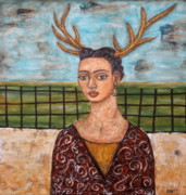 Diego Rivera Framed Prints - Frieda Kahlo as The Deer Framed Print by Rain Ririn