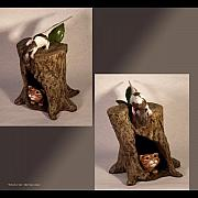 Cats Sculpture Originals - Friend or Foe views 2 and 3 by Katherine Howard