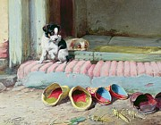 Puppies Painting Prints - Friend or Foe Print by William Henry Hamilton Trood
