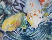 Koi In Water Prints - Friendliest Koi In the Pond Print by Terri Thompson
