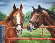 Horse Racing Paintings - Friends At The Gate by Kristine Plum