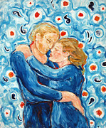 Embrace Paintings - Friends in Blue by Elena Irving