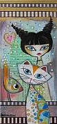 Girl Mixed Media - Friends by Johanna Virtanen