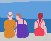 Beach Scenes Digital Art Posters - Friends on Beach Poster by Fred Jinkins