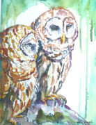 Owl Sculpture Metal Prints - Friends Metal Print by P Maure Bausch