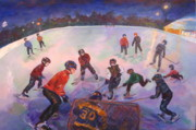 Hockey Paintings - Friends Scrimmage at Tuxedo Community Club by Naomi Gerrard