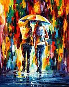 Leonid Afremov Metal Prints - Friends Under The Rain Metal Print by Leonid Afremov