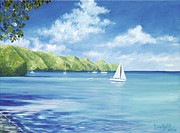 Sailboat Ocean Painting Originals - Friendship Bay by Danielle  Perry